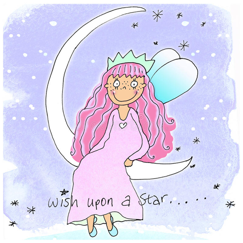 Fairy Girl - 2. A Cute Fairy Girl On a Blue Background Sat on a Moon, Thinking stock illustration