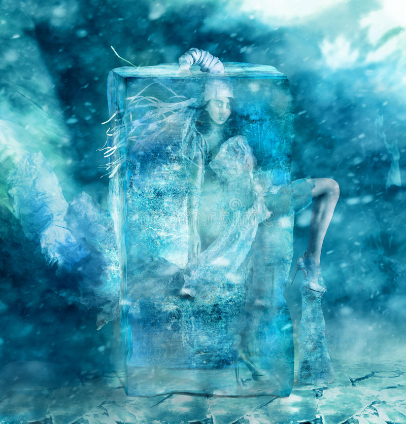 Fairy girl. Frozen in a block of ice royalty free stock photography