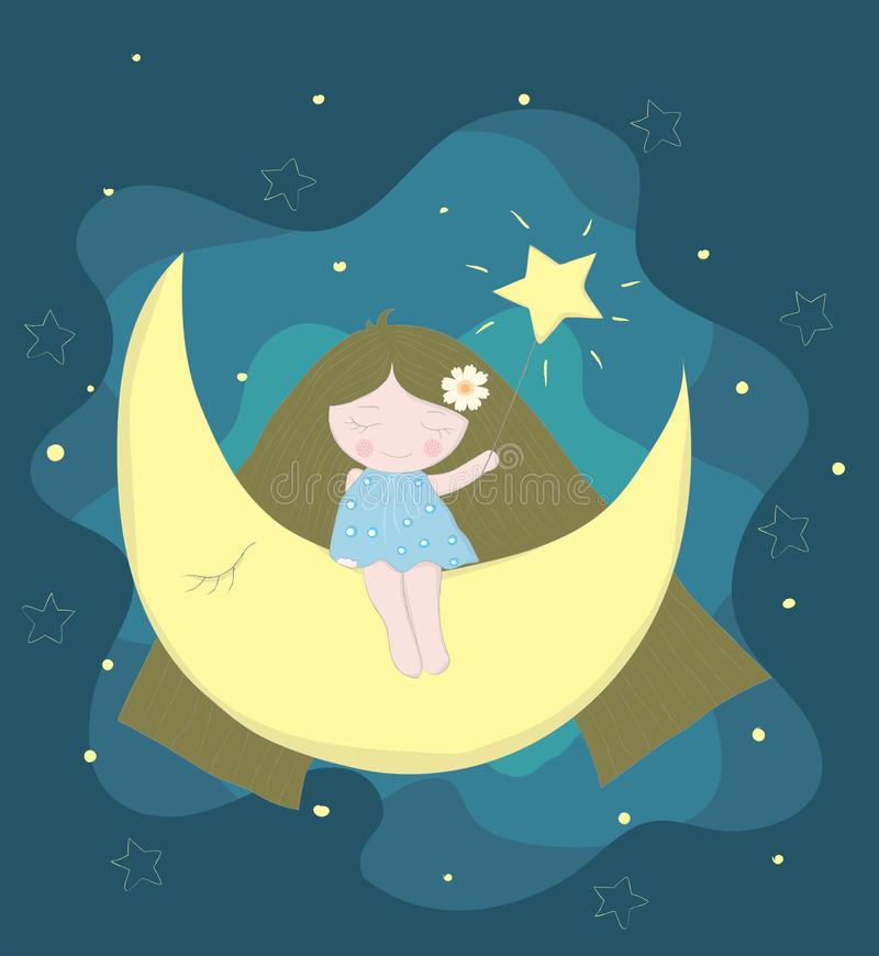 Fairy girl cartoon with moon at night. Hand drawn style.  royalty free illustration