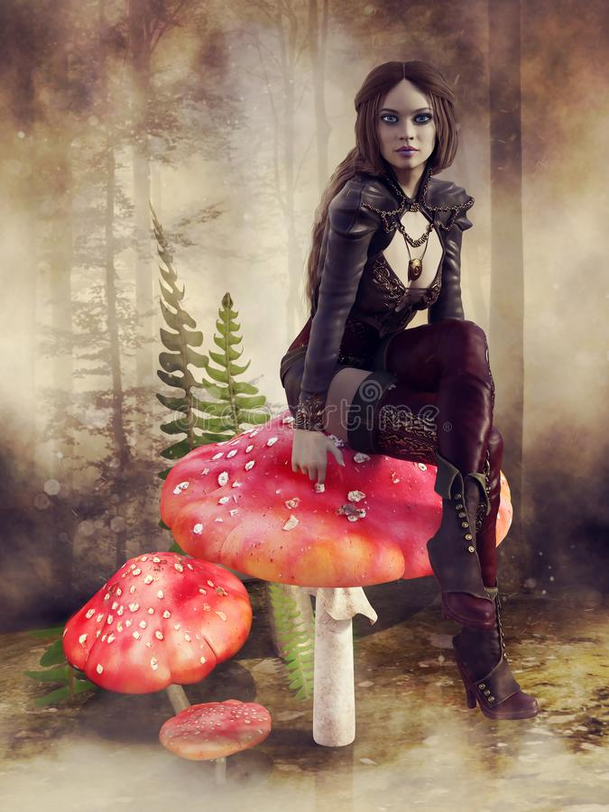 Fairy girl in a foggy forest stock illustration