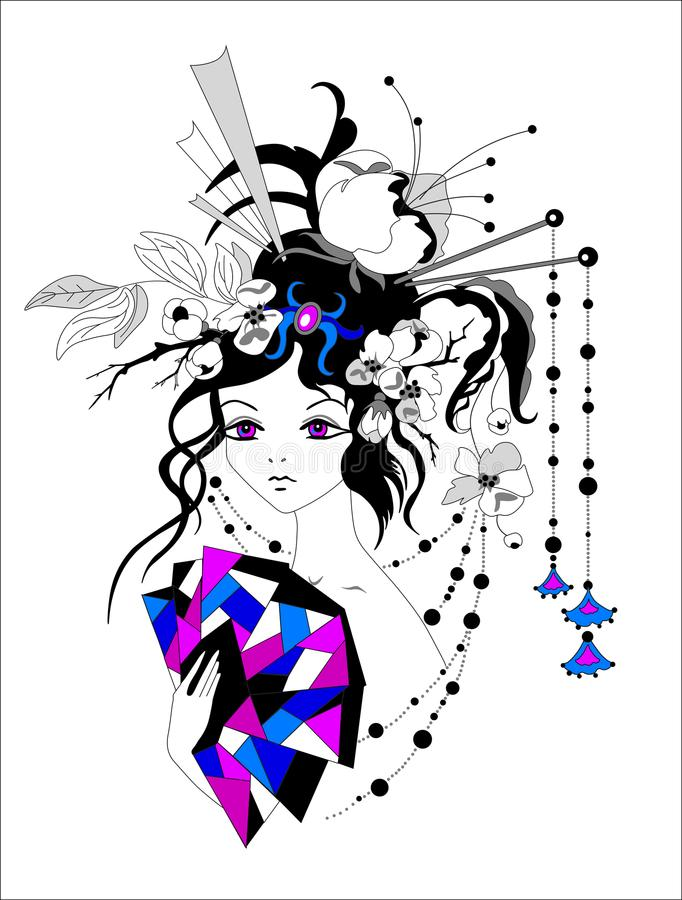 Fairy girl with gorgeous hairstyle, manga anime For tattoo, print, t-shirts and textiles. Vector illustration. Fairy girl with gorgeous hairstyle, manga anime royalty free illustration