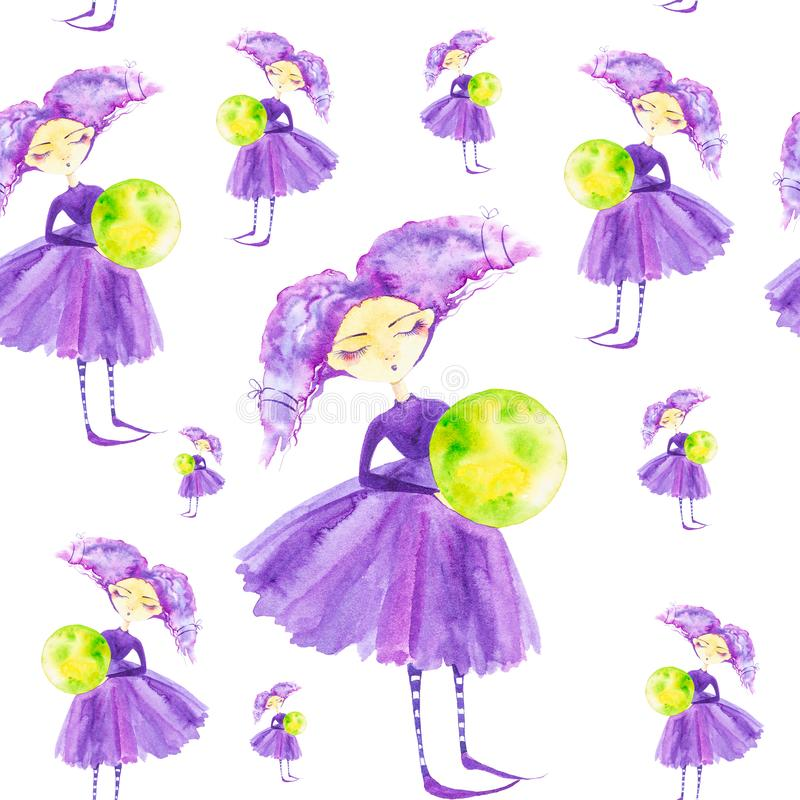 Fairy girl in a purple dress with purple hair developing in the wind.Holding the globe,the green planet earth . Watercolor. Illustration isolated on white vector illustration