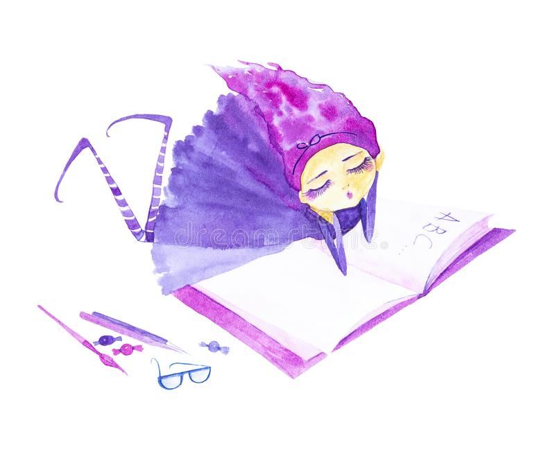 Fairy girl in a purple dress and striped stockings,with purple hair developing in the wind.Lying dreaming and reading a book . Watercolor illustration isolated vector illustration
