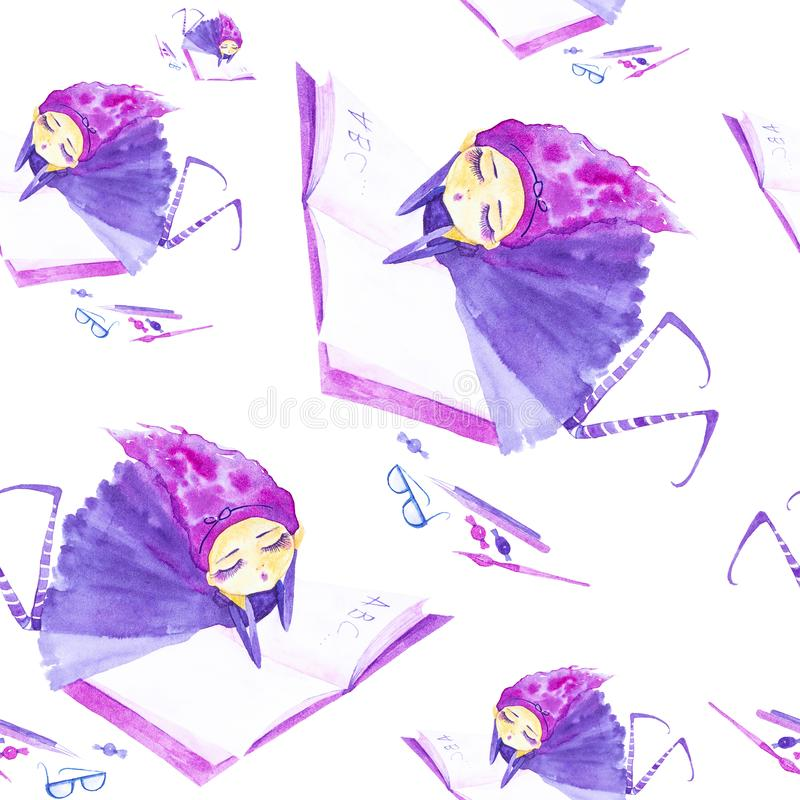 Fairy girl in a purple dress and striped stockings,with purple hair developing in the wind.Lying dreaming and reading a book . Watercolor illustration isolated stock illustration