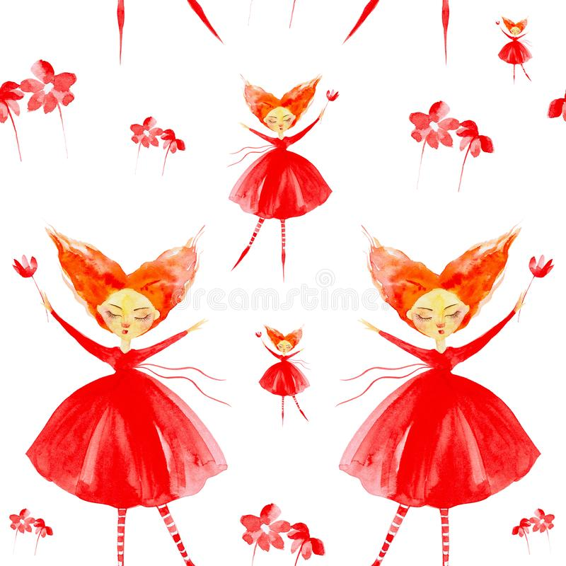 Fairy girl in a red dress with red hair developing in the wind. Flies through the air, hands up holding a flower. Watercolor. Illustration isolated on white stock illustration