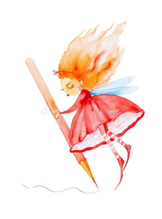 Fairy girl in a red dress and striped stockings,with red hair developing in the wind holds a huge pencil and draws. Watercolor royalty free illustration
