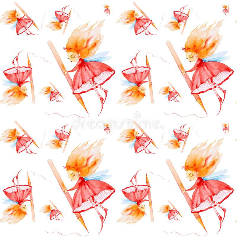 Fairy girl with red hair developing in the wind holds a huge pencil and draws. Watercolor illustration isolated on white. Background.Seamless pattern stock illustration