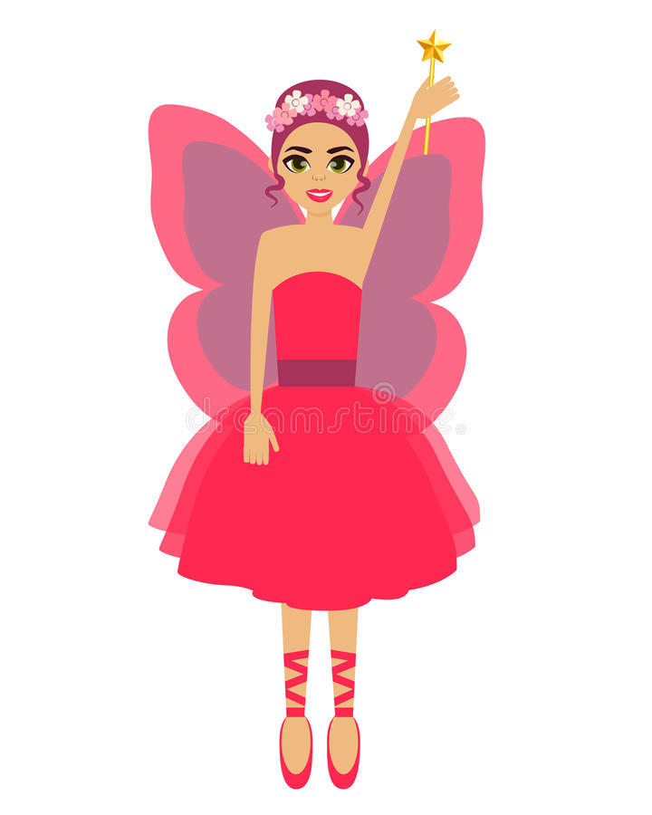 Fairy. Girl with wings and a magic wand. Vector illustration royalty free illustration