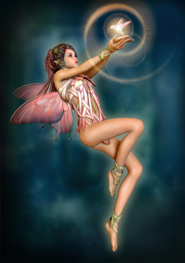 Fairy with glowing Bird, 3d CG. 3d computer graphics of a hovering fairy with butterfly wings vector illustration
