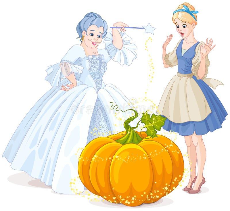 Fairy Godmother & Cinderella royalty free illustration