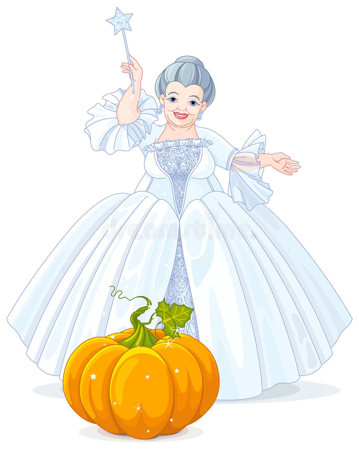 Fairy Godmother Making Magic Pumpkin Carriage vector illustration
