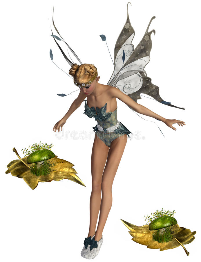 Fairy and gold leafs stock illustration