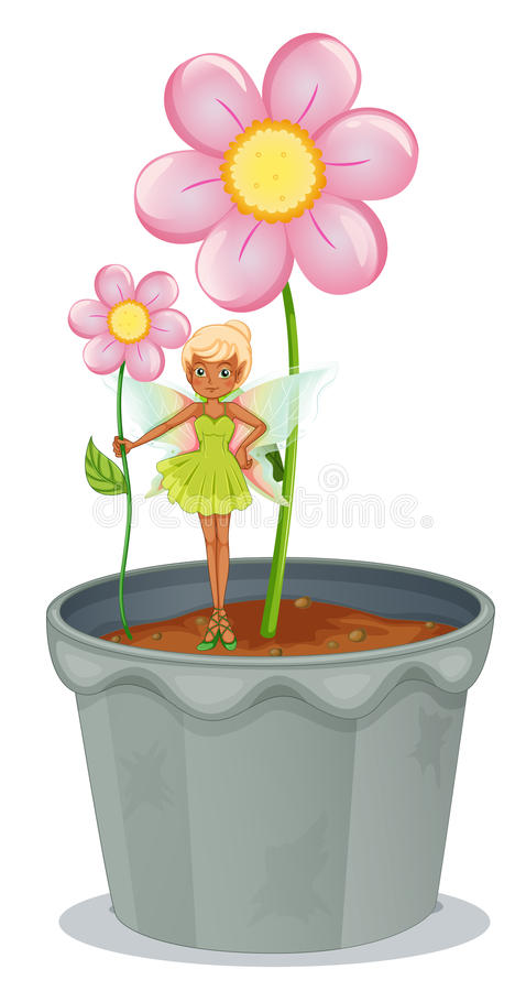 Download A Fairy Holding A Flower Standing On A Flower Pot Stock Vector - Image: 32710811