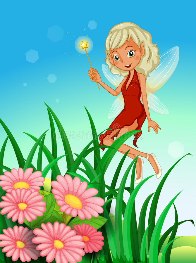 A fairy holding a wand near the garden with flowers. Illustration of a fairy holding a wand near the garden with flowers vector illustration