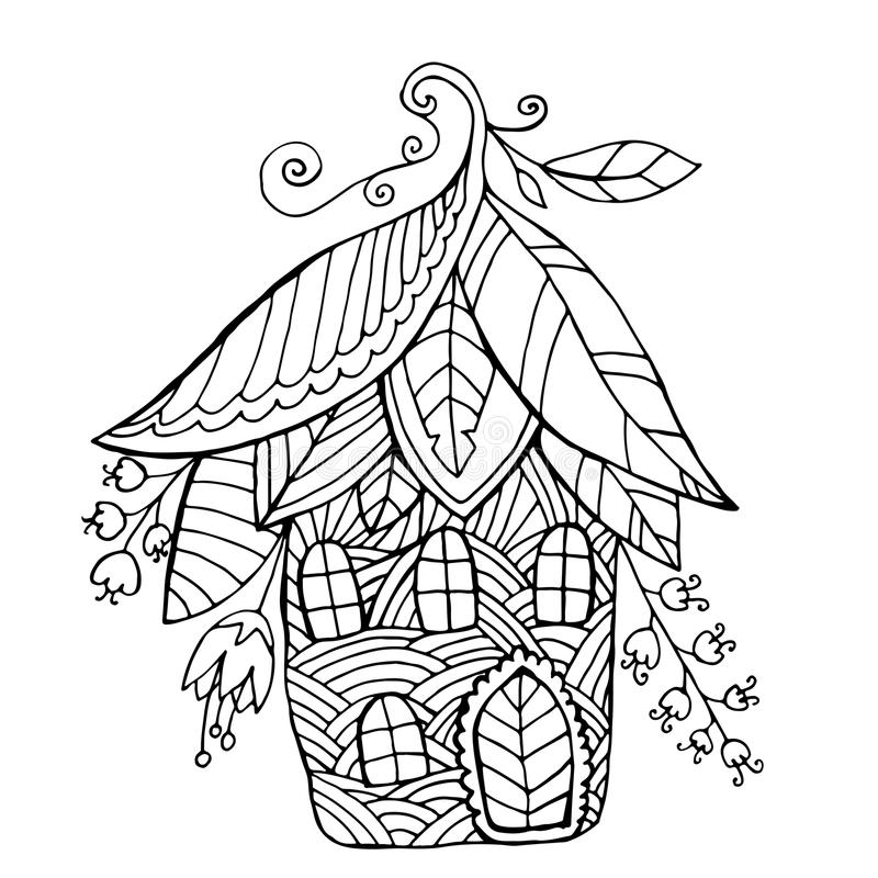 Fairy house in the form of flowers and leaf, children s coloring stock image