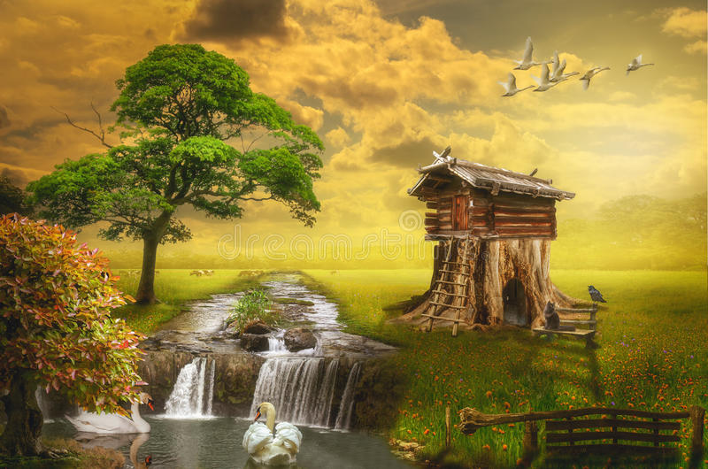 Fairy house. By the lake (illustration of a fictional situation, in the form collage of photos vector illustration