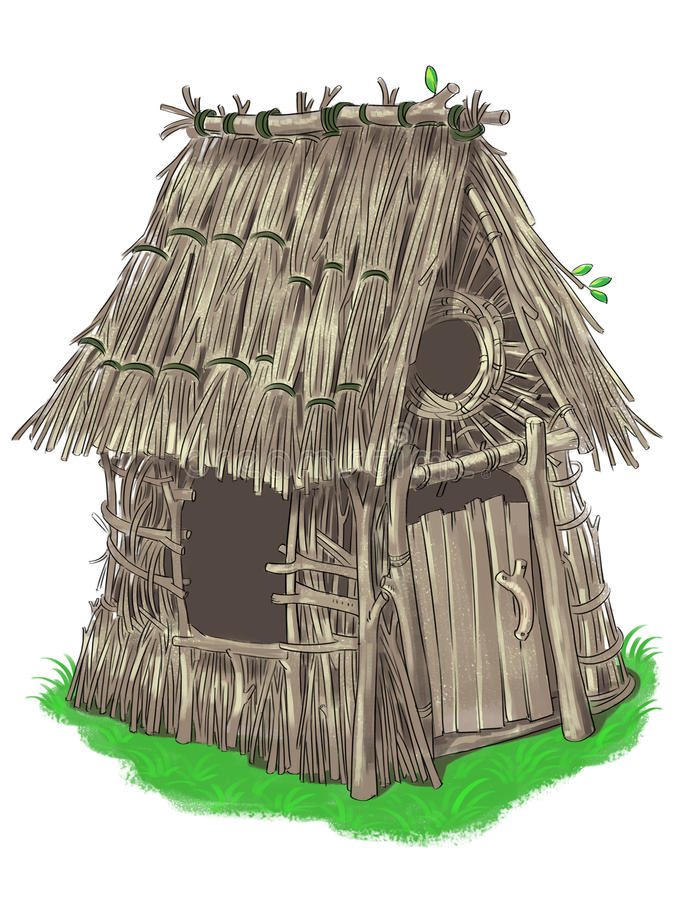 Fairy house from Three Little Pigs fairy tale royalty free illustration