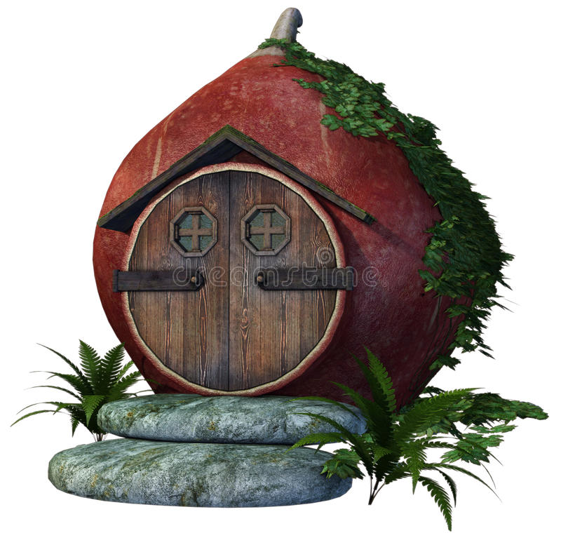 Fairy house with vines and fern. 3D render of a fairy house with vines and fern vector illustration