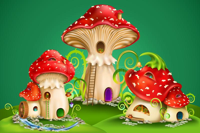 Fairy houses red mushrooms with water mill, golden bell and owls royalty free illustration