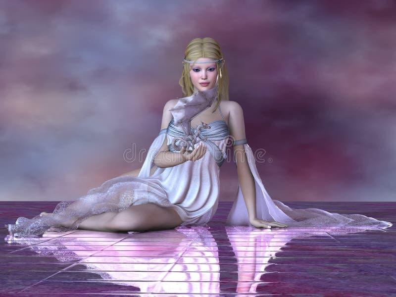 Fairy and Ice Dragon stock illustration