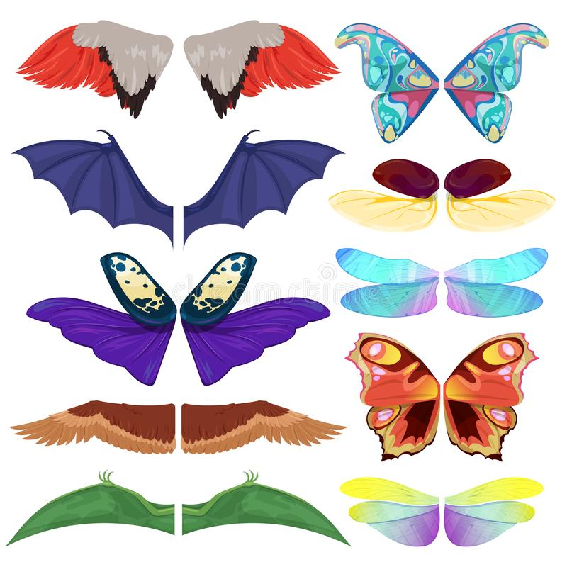 Fairy insect wings vector flying kids carnival costume winged bird bat and butterfly insects with wingspan for halloween. Party or Christmas on a white stock illustration