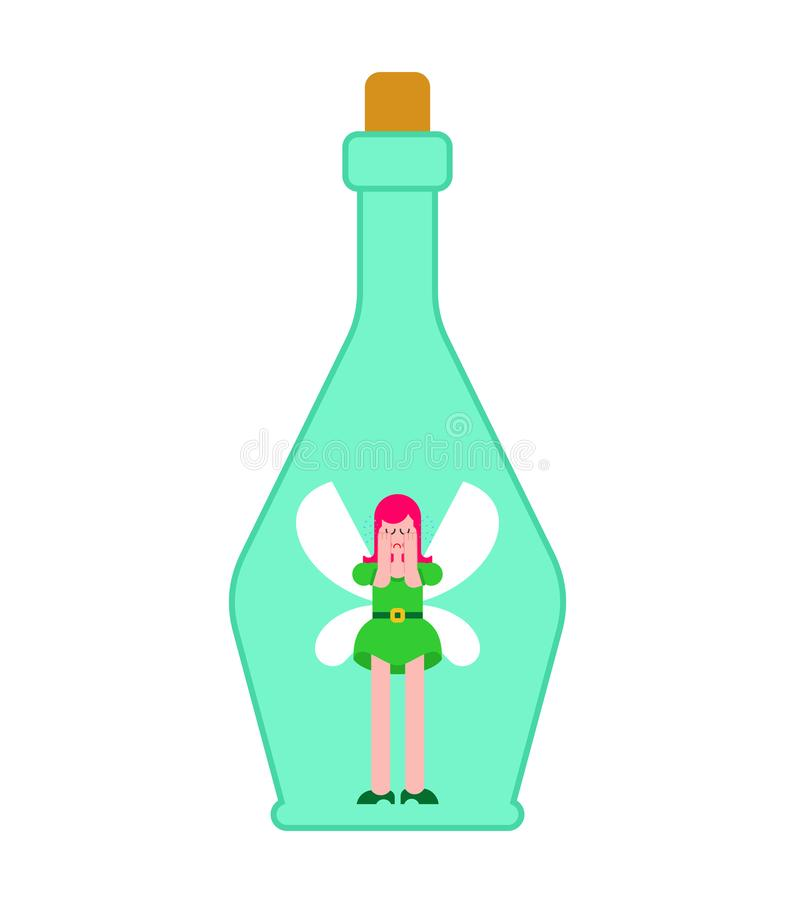 Fairy in jar. Little magical woman captive in bottle. Tiny creature with wings. Flying Mythical fabulous character and magic wand vector illustration