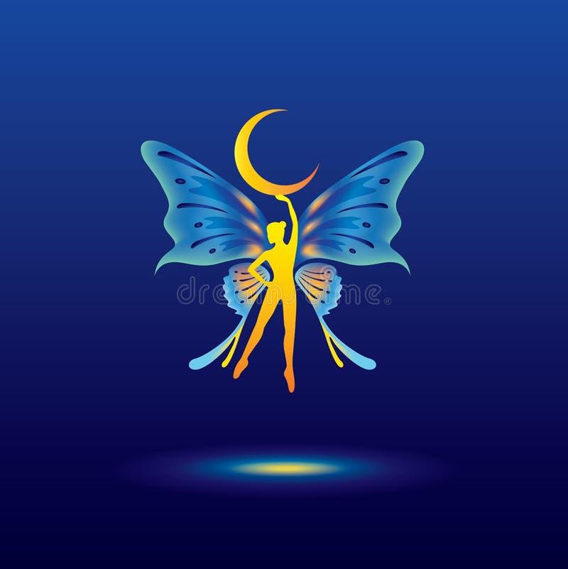 Fairy lady holding half moon royalty free illustration