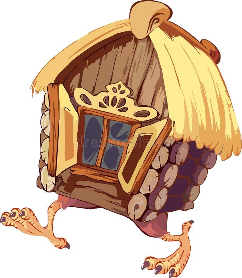Fairy landscape - hut on chicken legs. Vector stock illustration