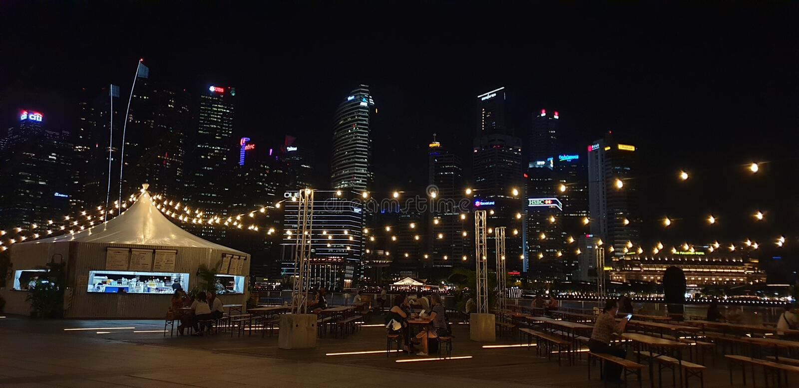Fairy lights food stall marina bay royalty free stock images