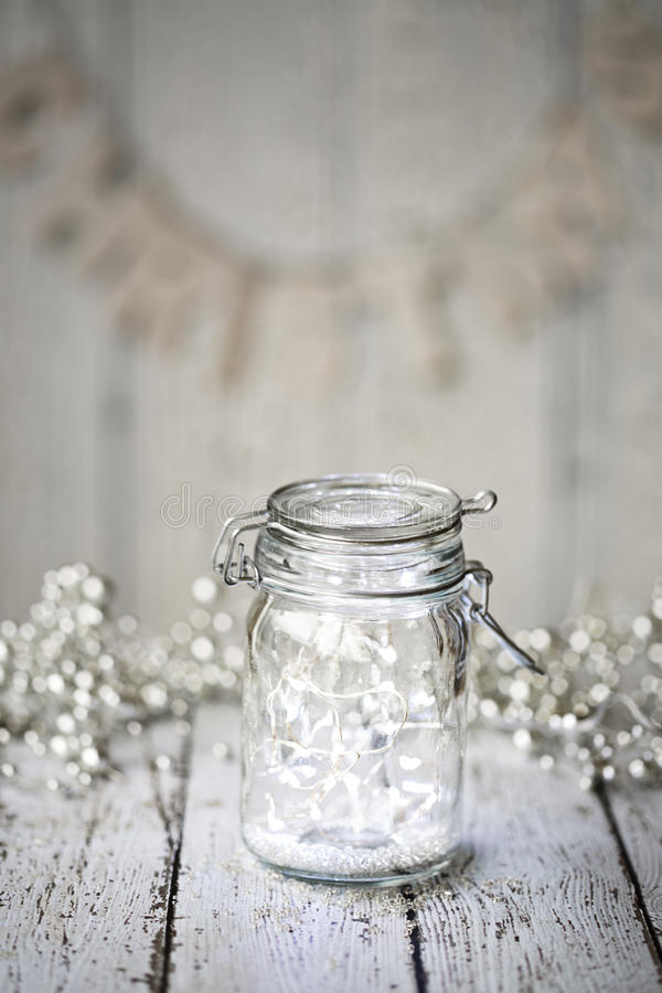 Fairy lights in a jar. With copy space stock photos