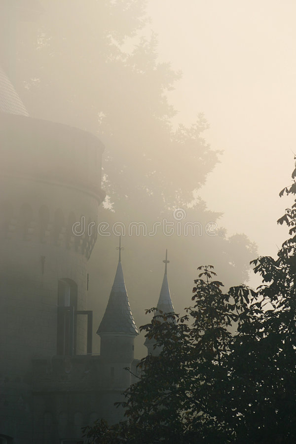 Fairy-like tower in the mist royalty free stock images