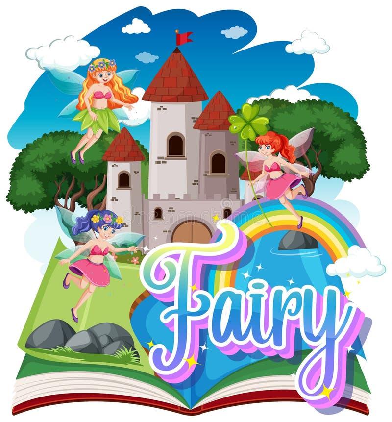 Fairy Logo With Little Fairies On Rainbow Sky Background