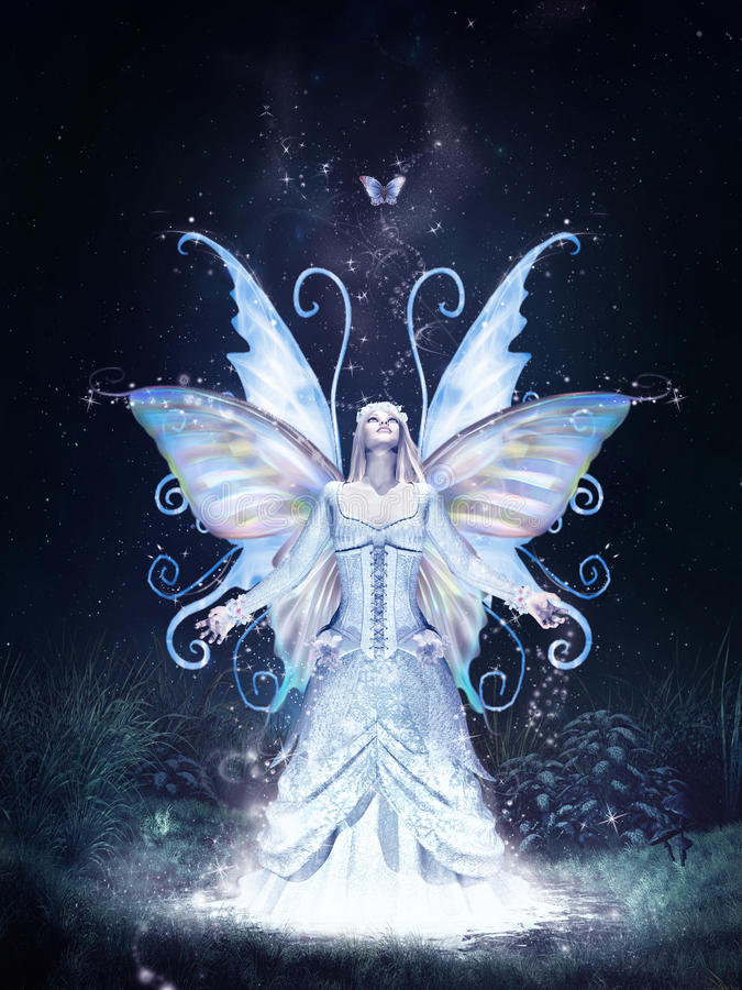 Fairy and magic butterfly stock illustration. Illustration of fairytale - 60922482