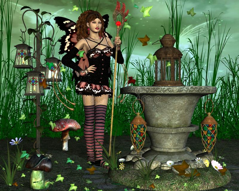 Fairy with magic tail staff stock photo