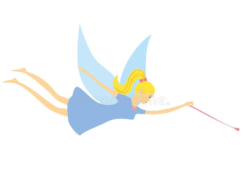 Fairy with a magic wand flying. royalty free illustration