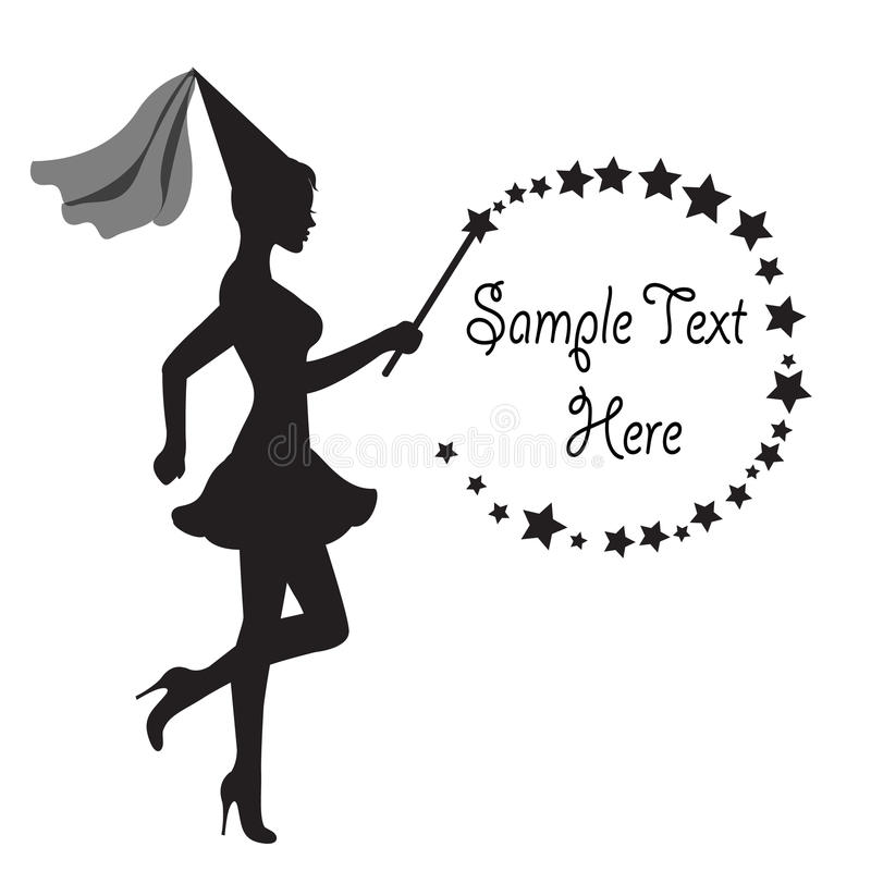Fairy with a magic wand and frame of Stars. Graceful silhouette of a fairy with a magic wand in hand and frame of Stars stock illustration