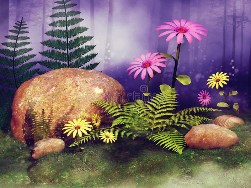 Fairy meadow with flowers and rocks vector illustration