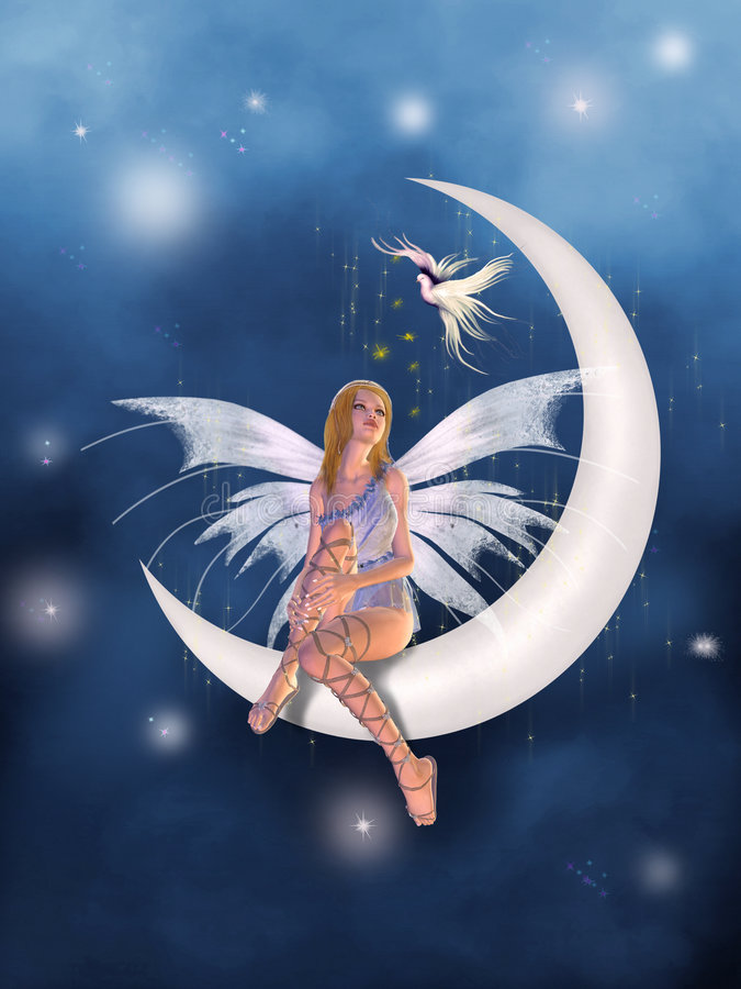 A fairy in the moon stock illustration