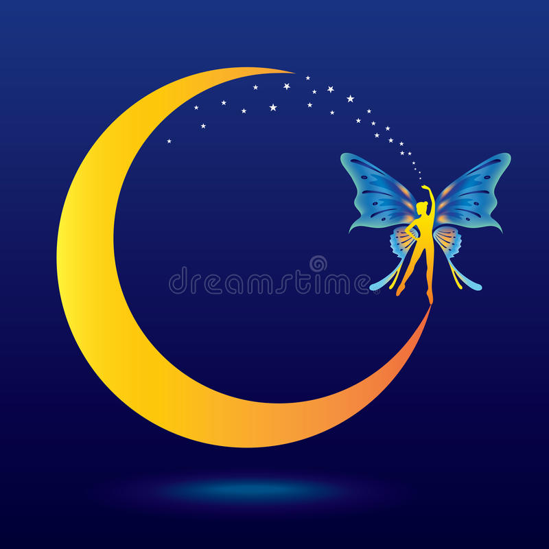 Fairy in the moon stock illustration