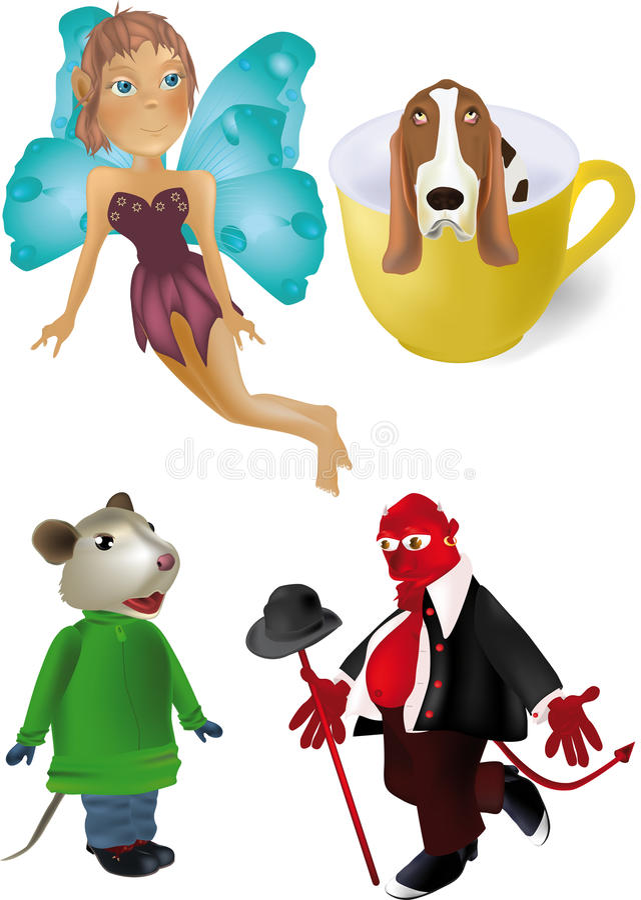 Fairy mouse devil dog stock illustration