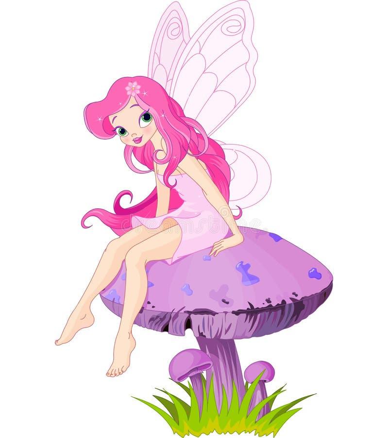 Fairy on the Mushroom. Pink fairy elf sitting on mushroom