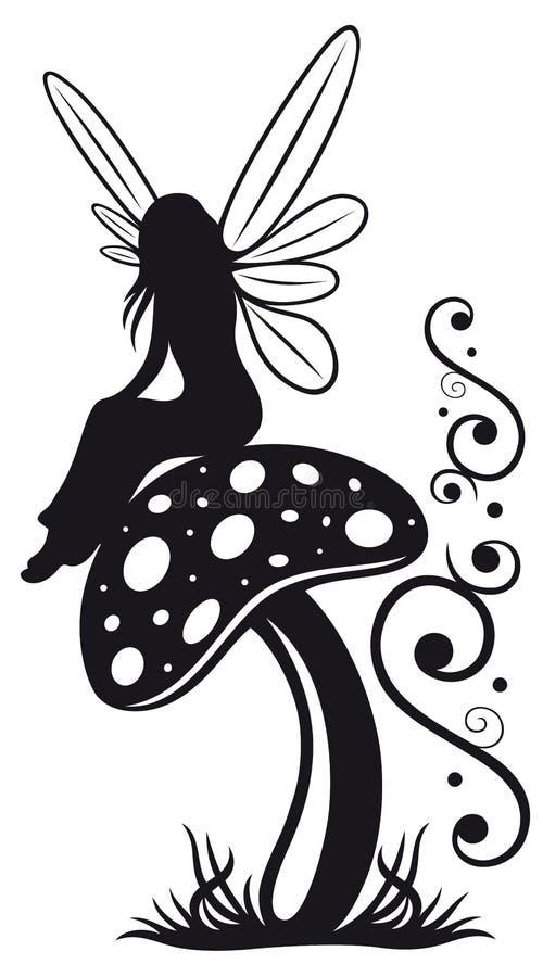 Fairy, mushroom, wood vector illustration