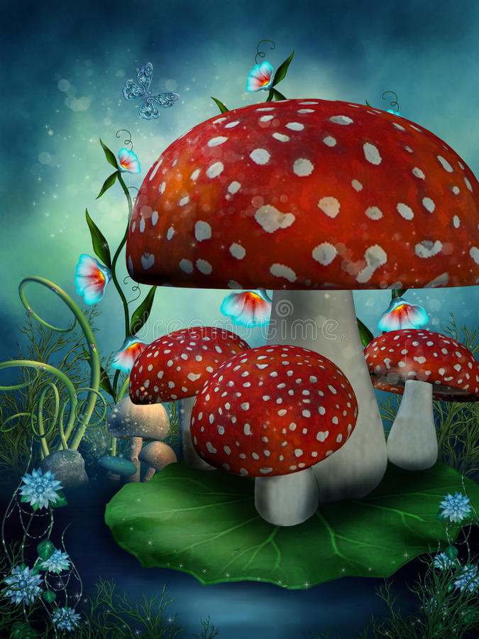 Fairy mushrooms and flowers vector illustration