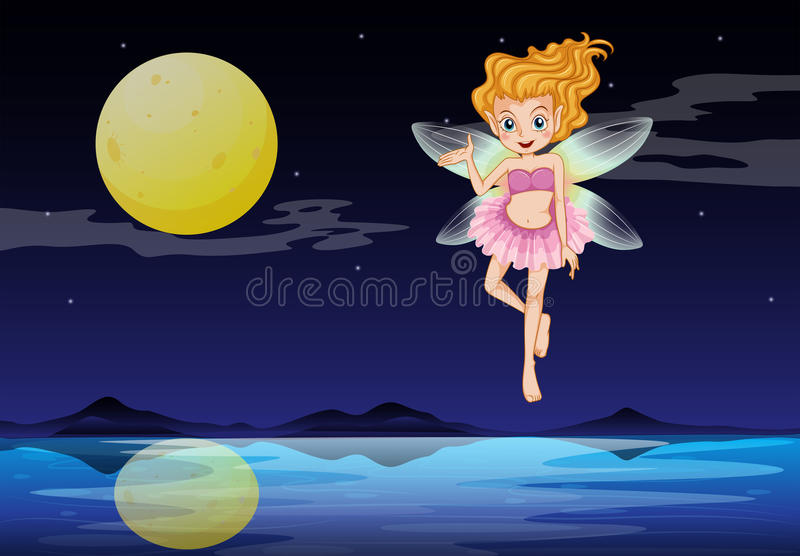 Download A fairy near the moon stock vector. Image of floating - 33314510