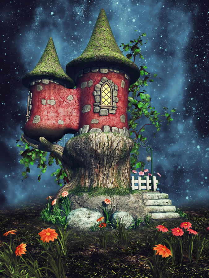 Fairy palace at night. Fantasy scenery with a colorful fairy palace at night vector illustration