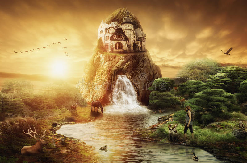 Fairy Palace. With a waterfall against the evening sunset stock illustration