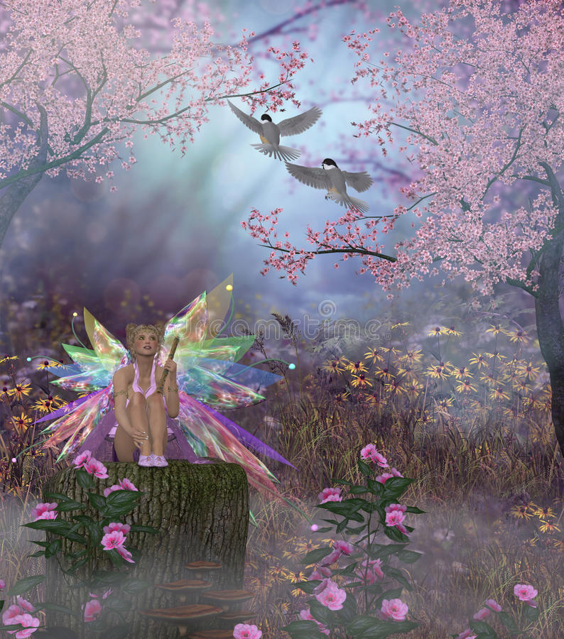 Fairy Patricia. Plays the flute for two Black-capped Chickadees in the magical forest stock illustration