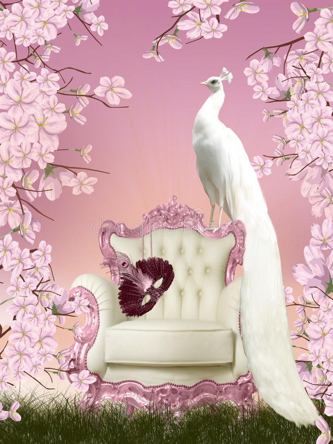 Fairy peacock vector illustration