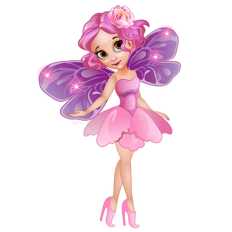Fairy in pink dress with flower on head. Fairy with wings in pink dress with flower on head. Vector fictional girl character on white background vector illustration