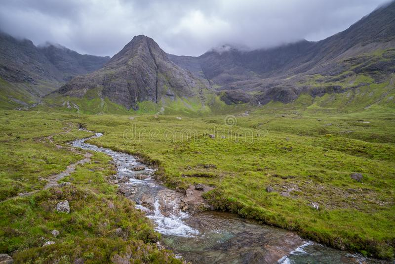 The famous Fairy Pools with the Black Cuillin Mountains in the background, Isle of Skye, Scotland. The Fairy Pools are a natural waterfall phenomenon in Glen stock images
